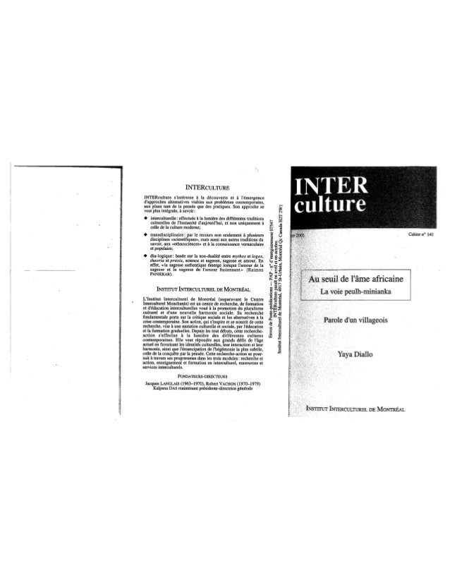 141 au seuil de l'âme africaine. la voie peulh-minianka. y. diallo. (document à télécharger en format pdf, 5,3 mb).