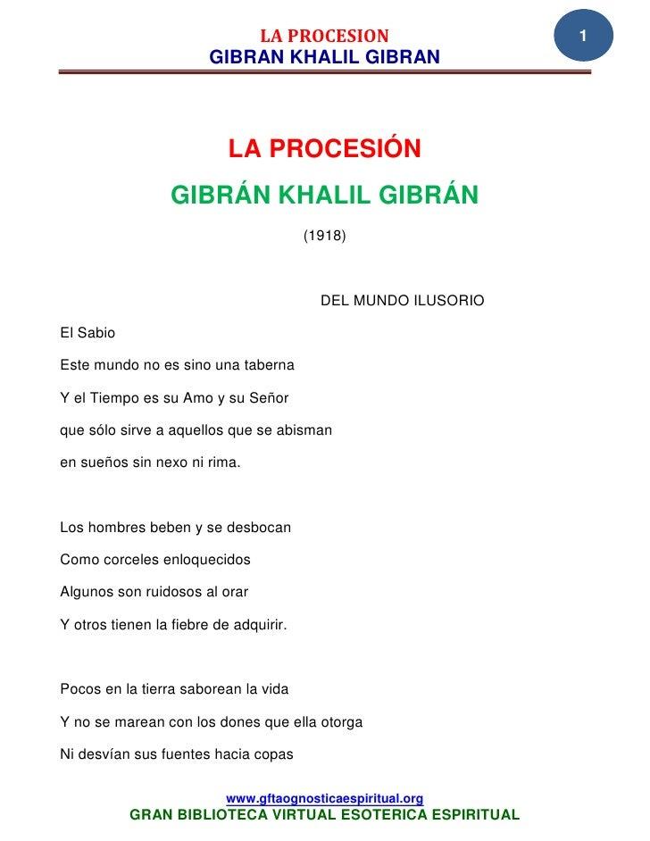 LA PROCESION                       1                        GIBRAN KHALIL GIBRAN                           LA PROCESIÓN   ...