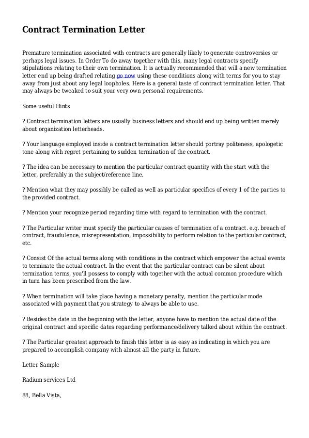 Agreement Termination Letter Format. 11+ Termination of Services ...