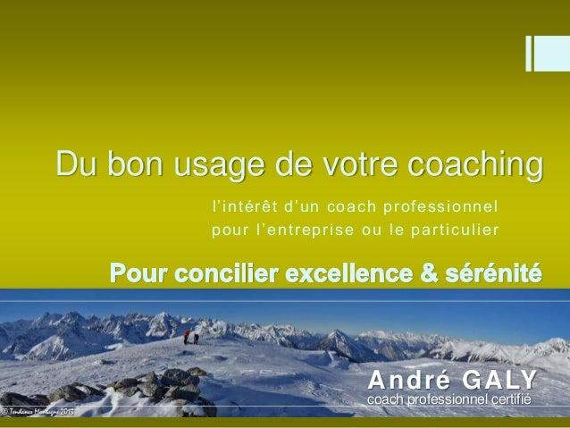 Du bon usage de votre coaching  l ' i n t é r ê t d ' u n c o a c h p r o f e s s i o n n e l  po u r l ' e n t r e p r i ...