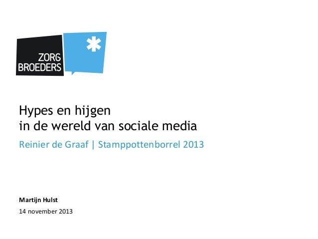 Hypes en hijgen in de wereld van sociale media Reinier de Graaf   Stamppottenborrel 2013  Martijn Hulst 14 november 2013