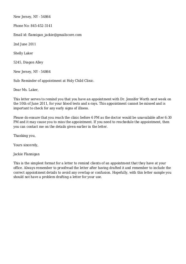 appointment reminder letter - Template
