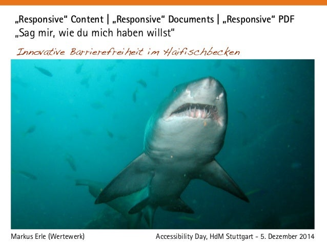 """Responsive"" Content   ""Responsive"" Documents   ""Responsive"" PDF  ""Sag mir, wie du mich haben willst""  Innovative Barriere..."