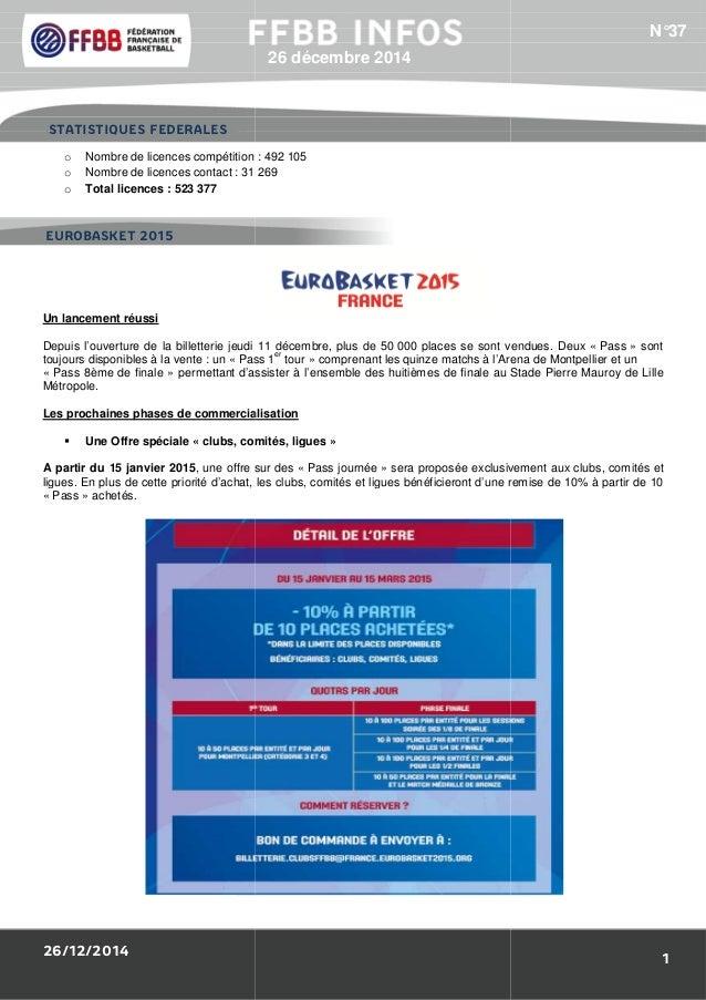 26/12/2014 1/Résultats des Equipes de France : o Nombre de licences compétition o Nombre de licences contact : 31 269 o To...