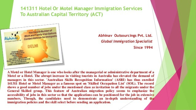 141311 Hotel Or Motel Manager Immigration Services To Australian Capital Territory (ACT) Abhinav Outsourcings Pvt. Ltd. Gl...