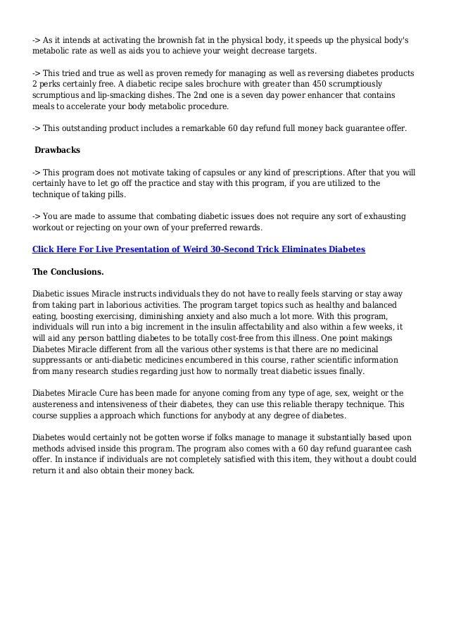 diabetes miracle cure pdf free
