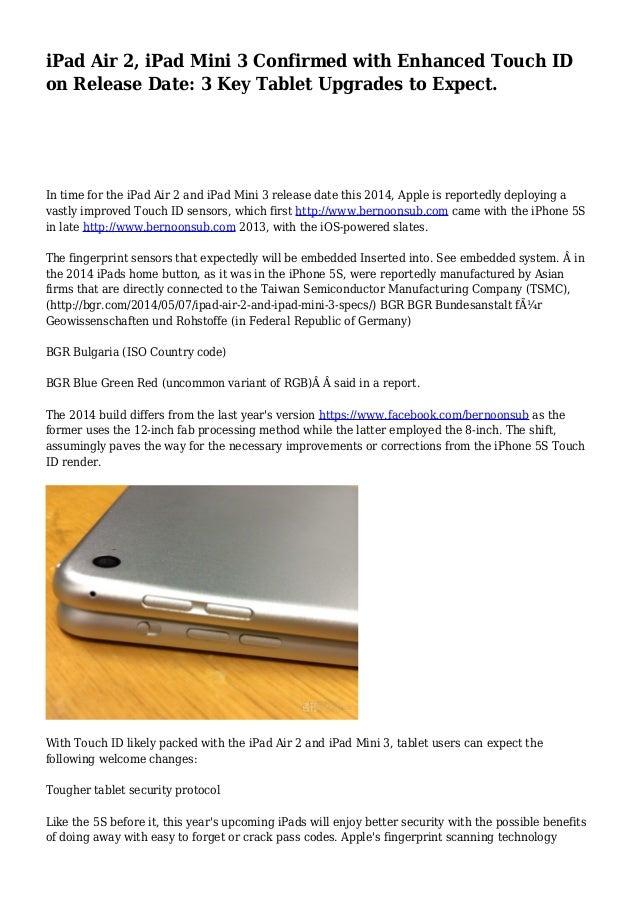 iPad Air 2, iPad Mini 3 Confirmed with Enhanced Touch ID ...