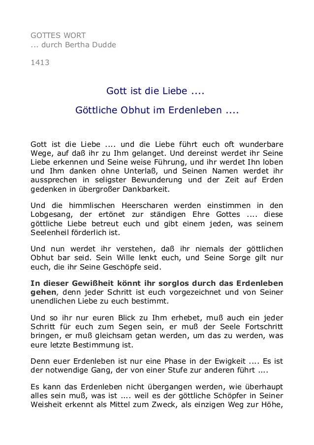 GOTTES WORT ... durch Bertha Dudde 1413 Gott ist die Liebe .... Göttliche Obhut im Erdenleben .... Gott ist die Liebe .......