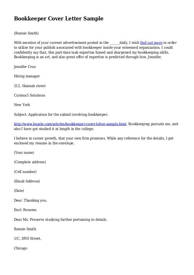 Job Application Letter Sample For Bookkeeper