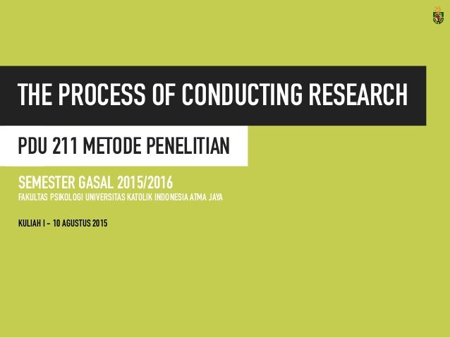 PDU 211 METODE PENELITIAN THE PROCESS OF CONDUCTING RESEARCH SEMESTER GASAL 2015/2016 FAKULTAS PSIKOLOGI UNIVERSITAS KATOL...