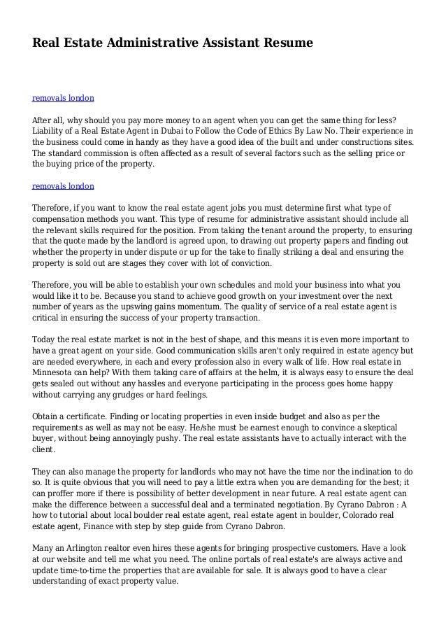 Real Estate Resume Samples Vosvetenet – Real Estate Broker Resume