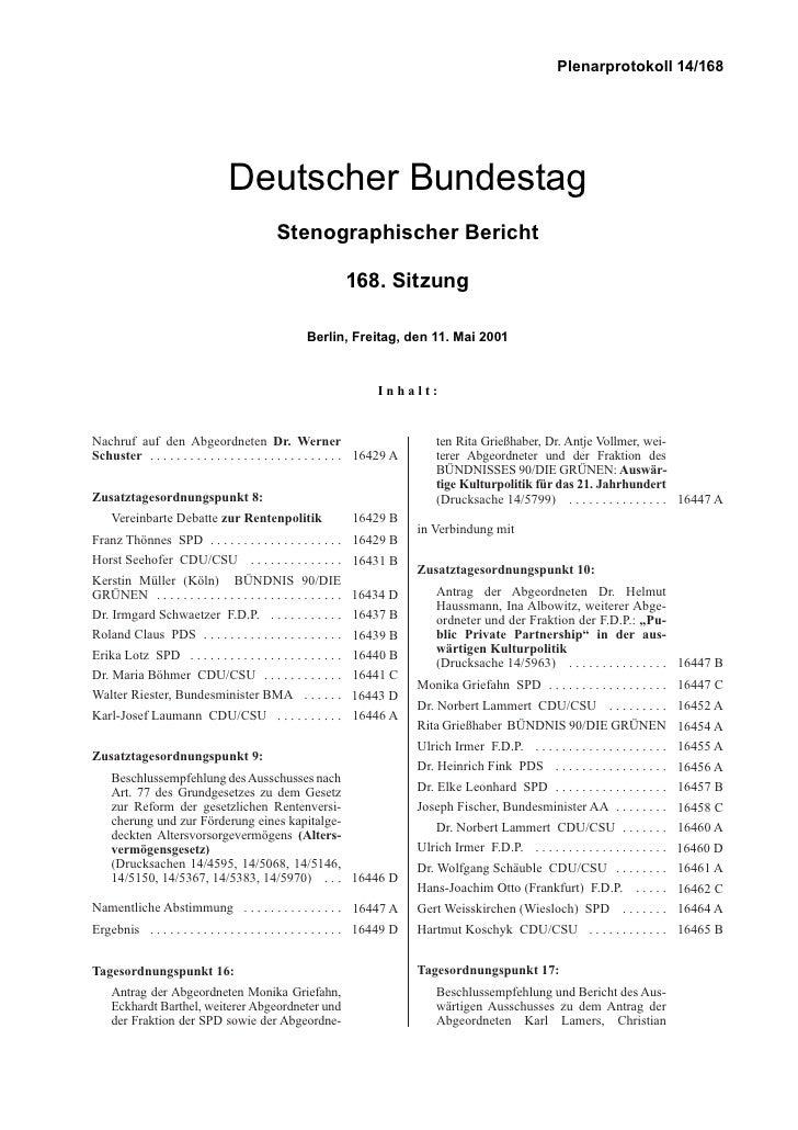 Deutscher Bundestag Stenographischer Bericht 168. Sitzung
