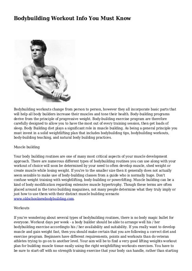 Bodybuilding Workout Info You Must Know