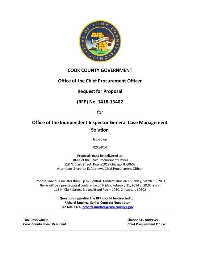 COOK COUNTY GOVERNMENT Office of the Chief Procurement Officer Request for Proposal (RFP) No. 1418-13402 for Office of the...