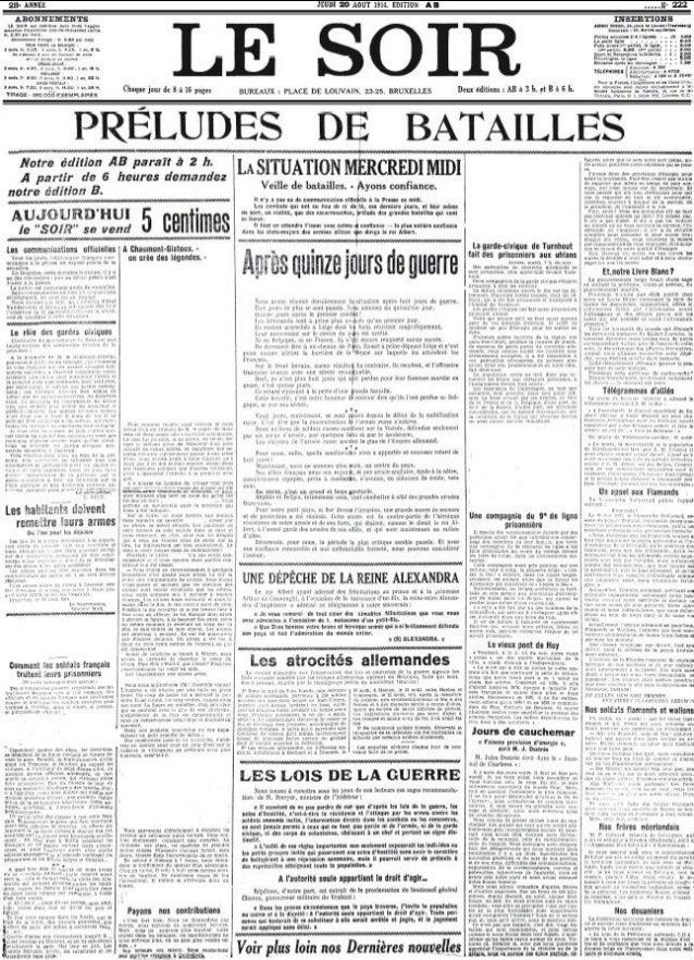La «Une» historique de la guerre 14-18 du week-end