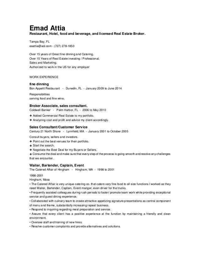real estate and service and sales resume