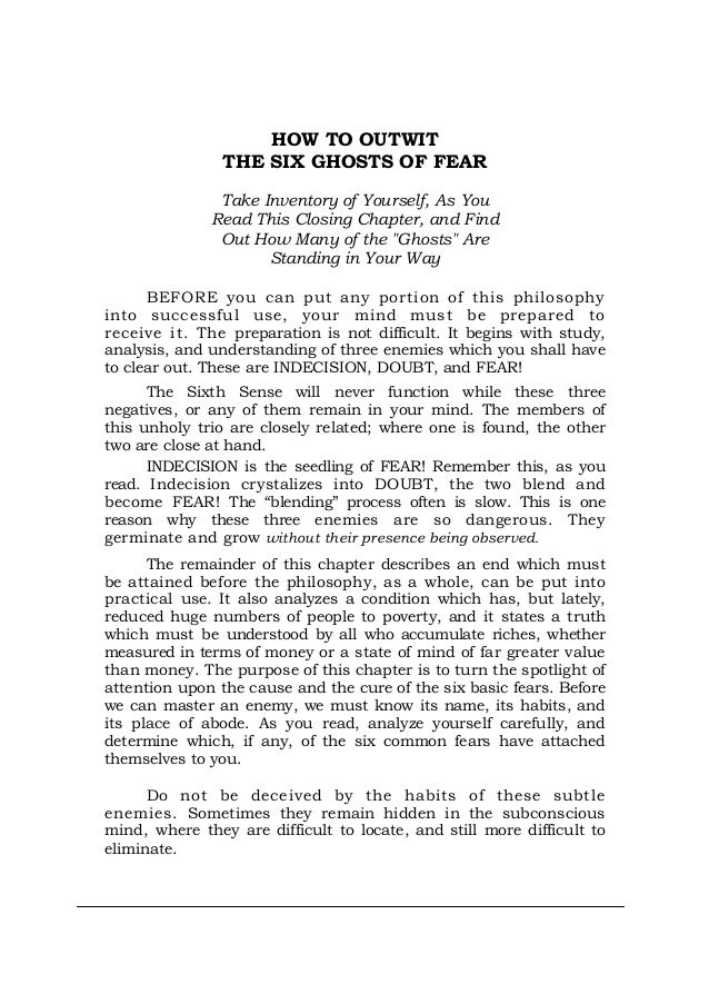 HOW TO OUTWIT THE SIX GHOSTS OF FEAR Take Inventory of Yourself, As You Read This Closing Chapter, and Find Out How Many o...