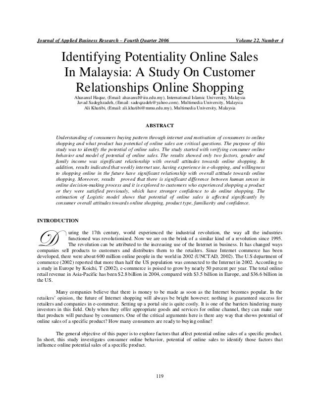 Journal of Applied Business Research – Fourth Quarter 2006  Volume 22, Number 4  Identifying Potentiality Online Sales In ...