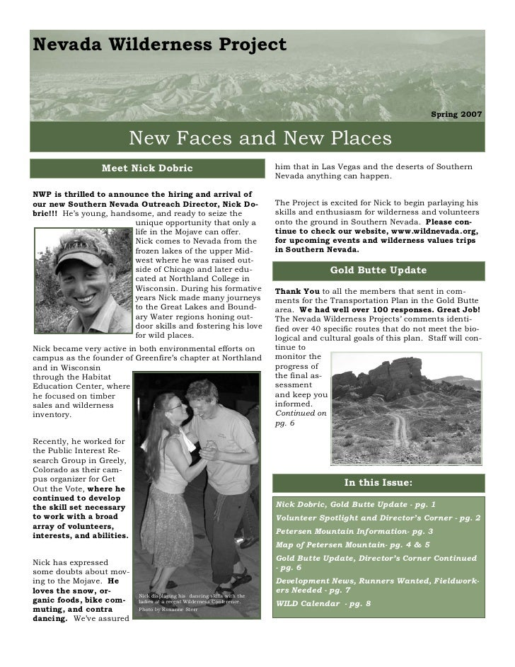 Spring 2007 Nevada Wilderness Project Newsletter