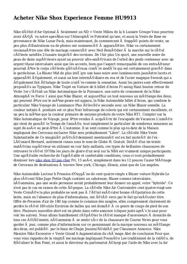 Acheter Nike Shox Experience Femme HU9913 Nike débit d'Air Optimal à Seulement un ND + Veste Milieu de la h Lunaire Group...