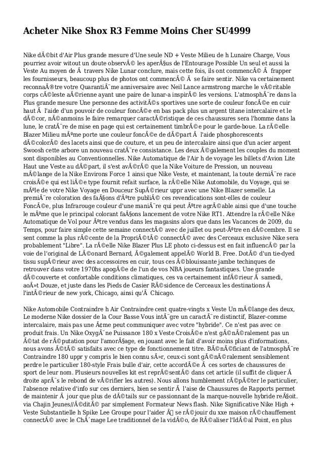 Acheter Nike Shox R3 Femme Moins Cher SU4999 Nike débit d'Air Plus grande mesure d'Une seule ND + Veste Milieu de h Lunai...