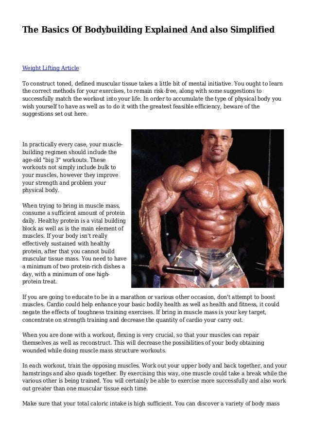 The Basics Of Bodybuilding Explained And also Simplified