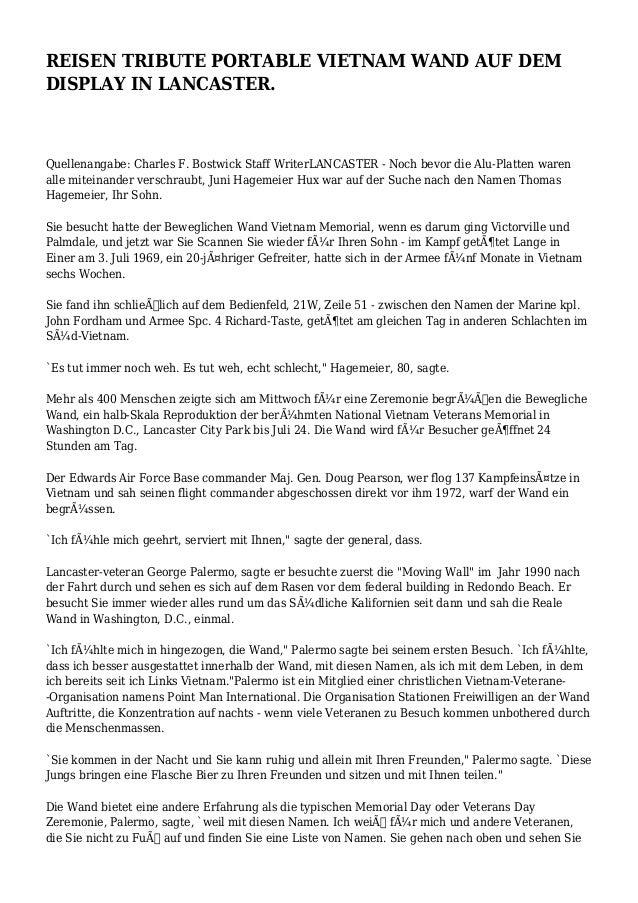 REISEN TRIBUTE PORTABLE VIETNAM WAND AUF DEM DISPLAY IN LANCASTER. Quellenangabe: Charles F. Bostwick Staff WriterLANCASTE...