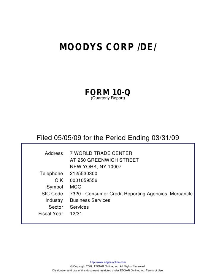 Q1 2009 Earning Report of Moodys Corp