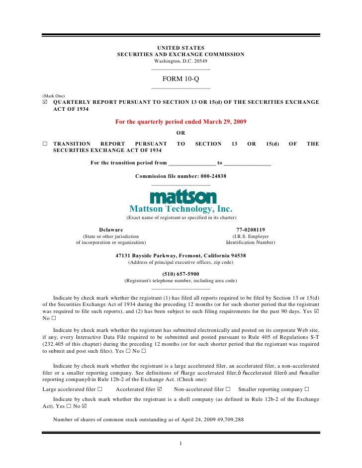 Q1 2009 Earning Report of Mattson Technology Inc.