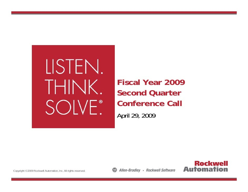 Q1 2009 Earning Report of Rockwell Automation Inc.
