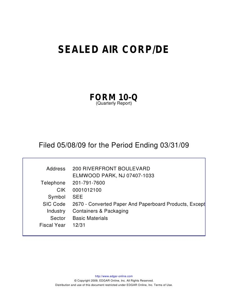 Q1 2009 Earning Report of Sealed Air Corp.
