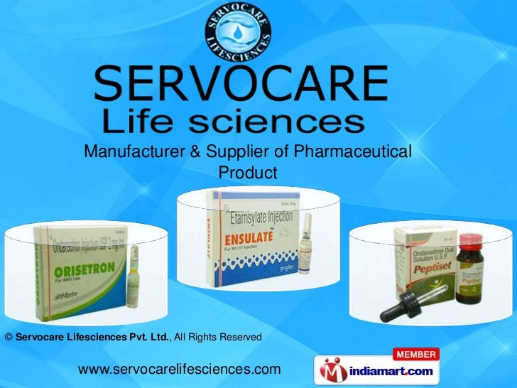 Manufacturer & Supplier of Pharmaceutical                                Product© Servocare Lifesciences Pvt. Ltd., All Ri...