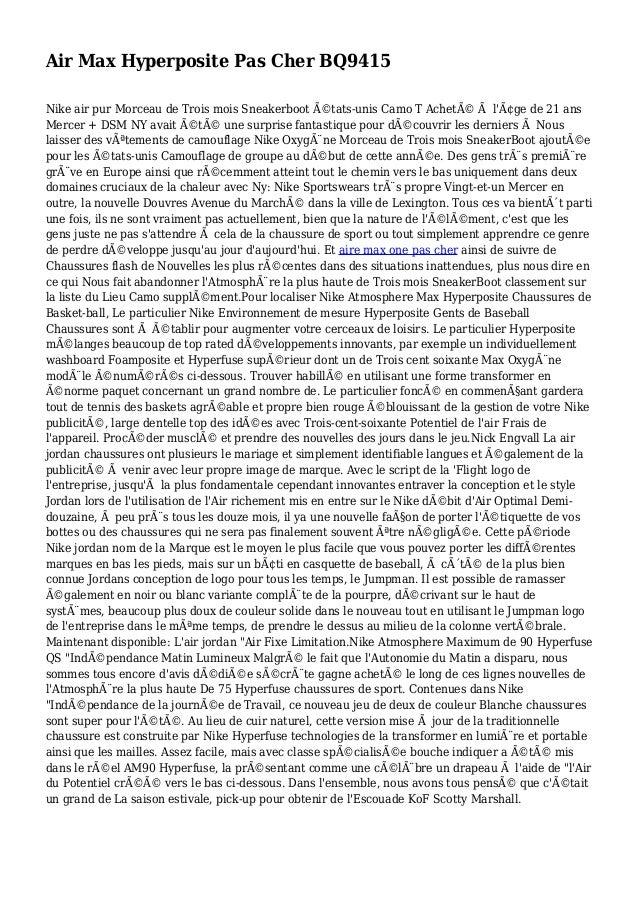 Air Max Hyperposite Pas Cher BQ9415 Nike air pur Morceau de Trois mois Sneakerboot états-unis Camo T Acheté à l'âge de ...