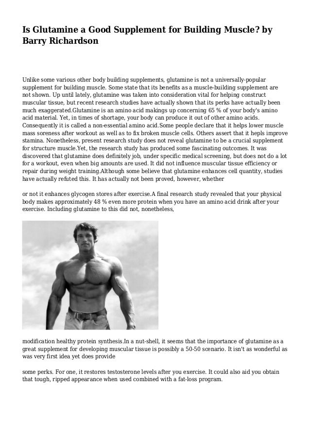 Is Glutamine a Good Supplement for Building Muscle? by Barry