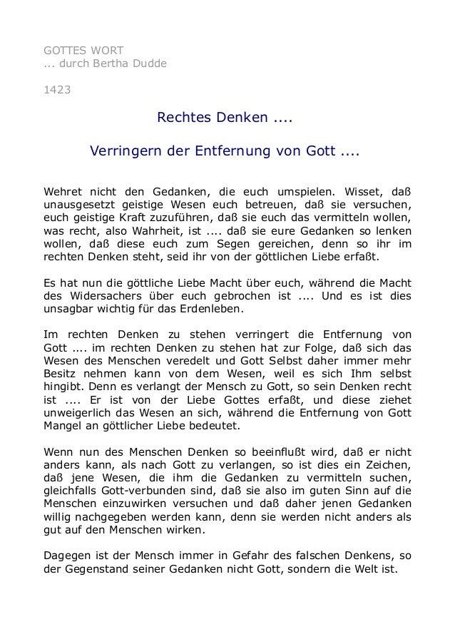 GOTTES WORT ... durch Bertha Dudde 1423 Rechtes Denken .... Verringern der Entfernung von Gott .... Wehret nicht den Gedan...
