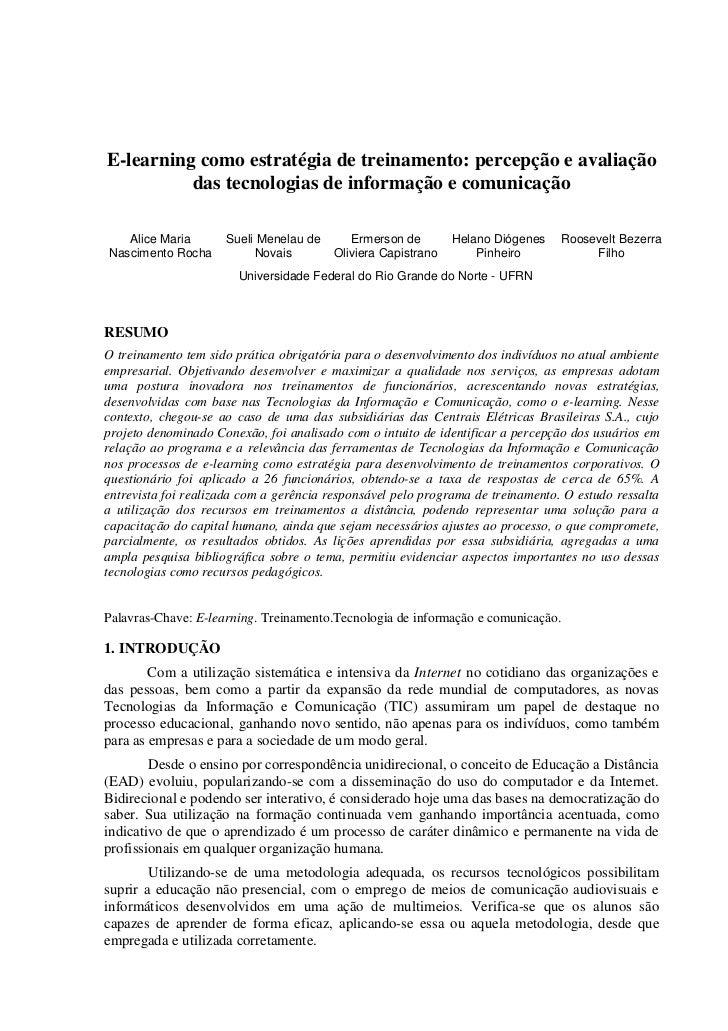 E-learning como estratégia de treinamento: percepção e avaliação          das tecnologias de informação e comunicação   Al...