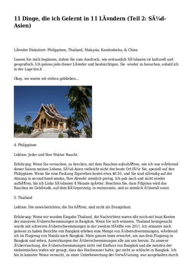 11 Dinge, die ich Gelernt in 11 Ländern (Teil 2: Süd- Asien) Länder Diskutiert: Philippinen, Thailand, Malaysia, Kambod...