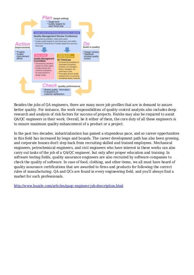 QA/QC Engineer Job Description