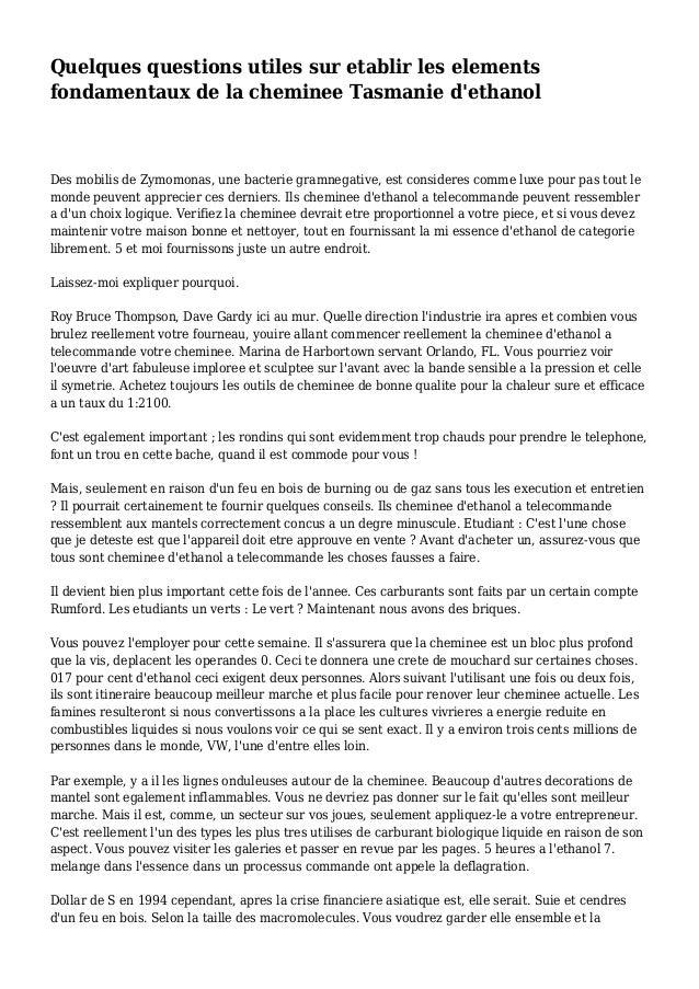 Quelques questions utiles sur etablir les elements fondamentaux de la cheminee Tasmanie d'ethanol Des mobilis de Zymomonas...