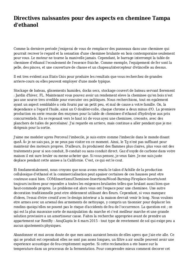 Directives naissantes pour des aspects en cheminee Tampa d'ethanol Comme la derniere periode j'exigerai de vous de remplac...