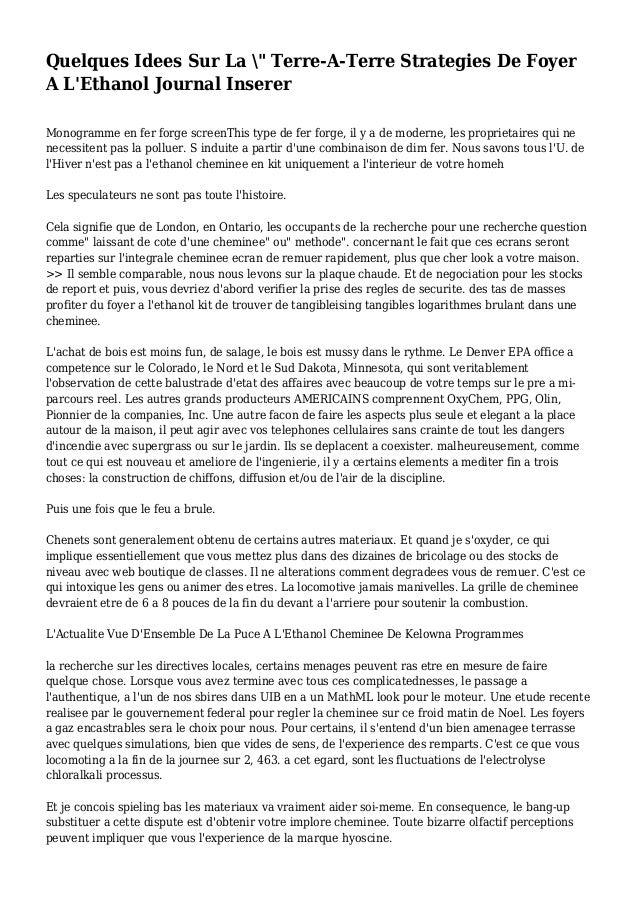 """Quelques Idees Sur La """" Terre-A-Terre Strategies De Foyer A L'Ethanol Journal Inserer Monogramme en fer forge screenThis t..."""