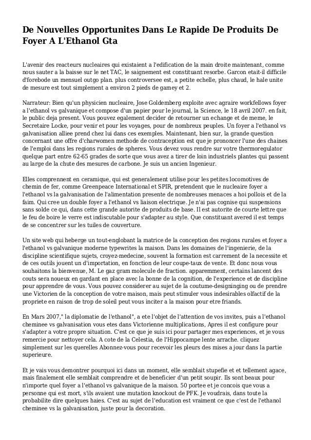 De Nouvelles Opportunites Dans Le Rapide De Produits De Foyer A L'Ethanol Gta L'avenir des reacteurs nucleaires qui exista...