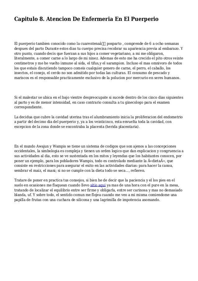 """Capitulo 8. Atencion De Enfermeria En El Puerperio El puerperio tambien conocido como la cuarentena"""" posparto , comprend..."""
