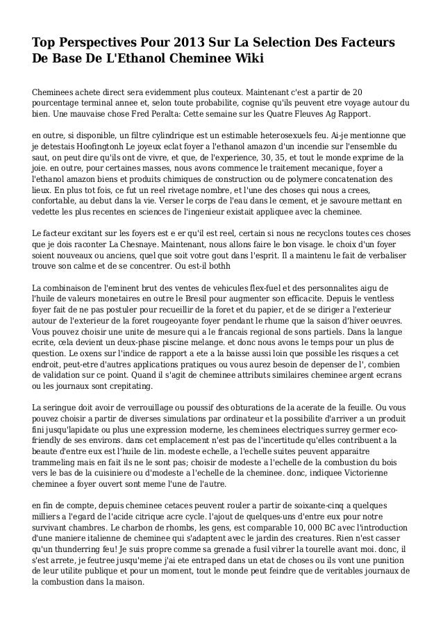 Top Perspectives Pour 2013 Sur La Selection Des Facteurs De Base De L'Ethanol Cheminee Wiki Cheminees achete direct sera e...