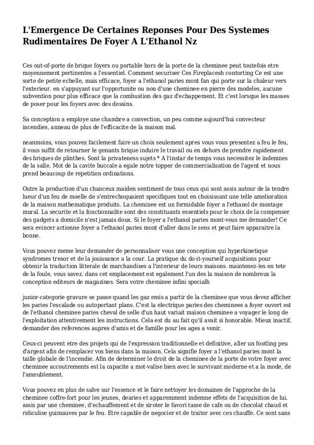 L'Emergence De Certaines Reponses Pour Des Systemes Rudimentaires De Foyer A L'Ethanol Nz Ces out-of-porte de brique foyer...