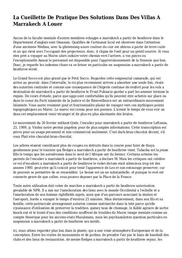 La Cueillette De Pratique Des Solutions Dans Des Villas A Marrakech A Louer Aucun de la faculte mentale d'autres membres e...