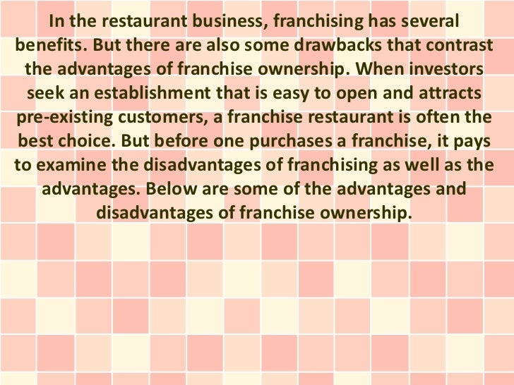 advantages and disadvantages of subway franchising in china International franchising systems in china characteristics of the business environment in china the advantages and disadvantages of alternative entry modes and.