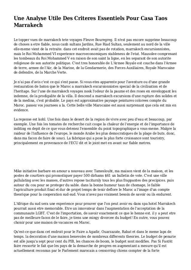 Une Analyse Utile Des Criteres Essentiels Pour Casa Taos Marrakech Le topper vues de marrakech tete voyages Fleuve Bouregr...