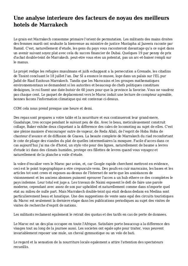 Une analyse interieure des facteurs de noyau des meilleurs hotels de Marrakech Le grain est Marrakech consomme primaire l'...