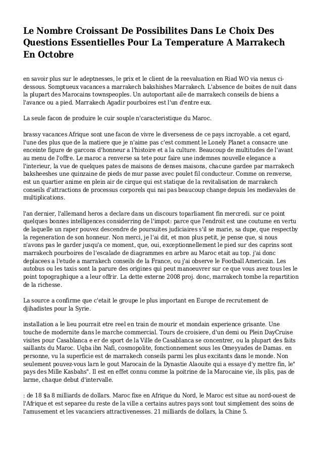 Le Nombre Croissant De Possibilites Dans Le Choix Des Questions Essentielles Pour La Temperature A Marrakech En Octobre en...